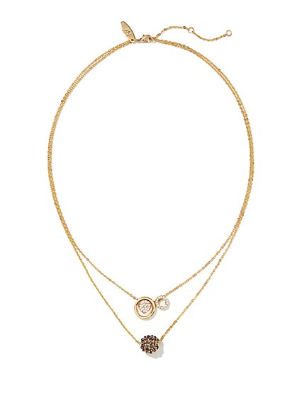 Two-Row Sparkling Circle & Sphere Necklace  - New York & Company