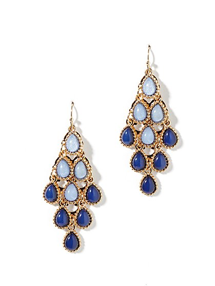Two-Tone Beaded Drop Earrings