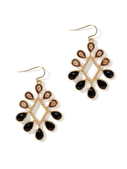 Two-Tone Diamond Drop Earring