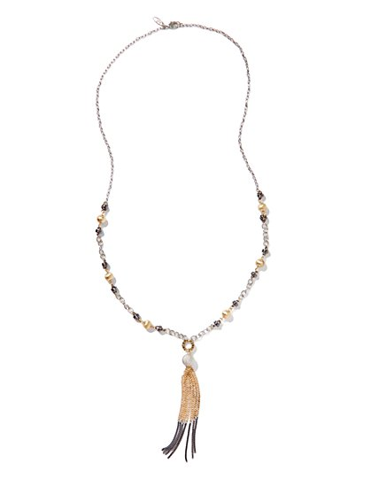 Two-Tone Tassel Necklace - New York & Company