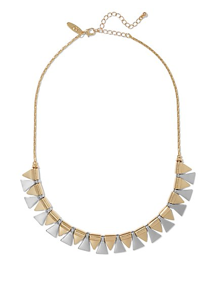 Two-Tone Triangular Necklace  - New York & Company