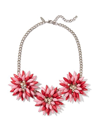 Two-Tone Triple-Flower Necklace
