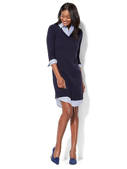 Twofer Dress - Stripe - New York & Company