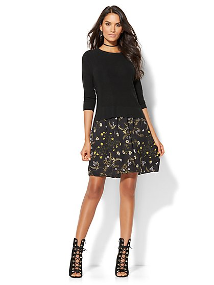 Twofer Sweater Dress - Floral - New York & Company