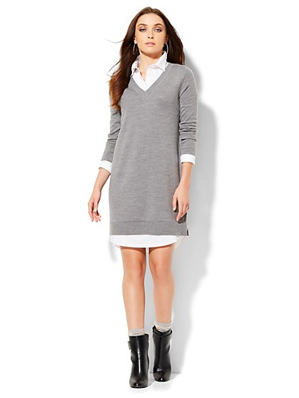 Twofer Sweater Dress  - New York & Company