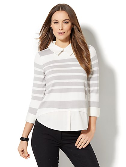 Twofer Sweater - Sequin Stripe - New York & Company