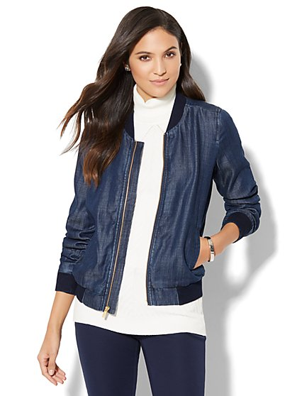 Ultra-Soft Chambray Bomber Jacket - Empire Blue Wash - New York & Company
