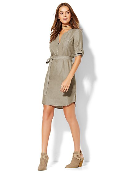 Ultra-Soft Chambray Popover Shirtdress  - New York & Company