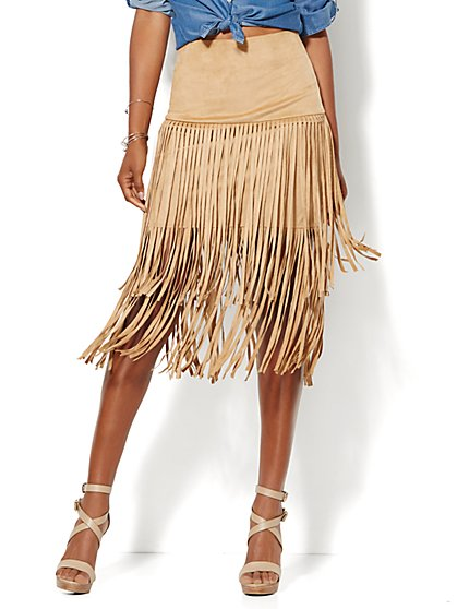 Ultra-Suede Fringe Skirt  - New York & Company