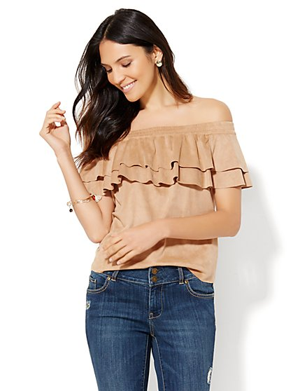 Ultra-Suede Off-The-Shoulder Top  - New York & Company