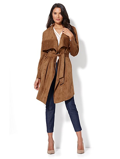 Ultra-Suede Open-Front Trench Coat - New York & Company