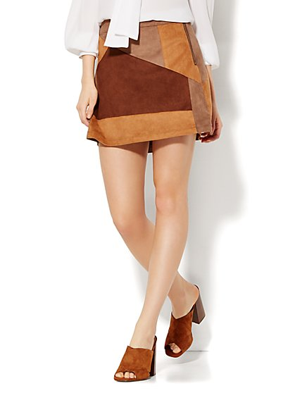Ultra-Suede Patchwork Mini Skirt  - New York & Company