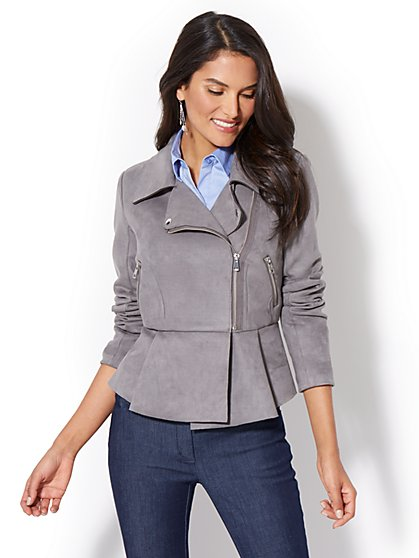 Ultra Suede Peplum Moto Jacket - New York & Company