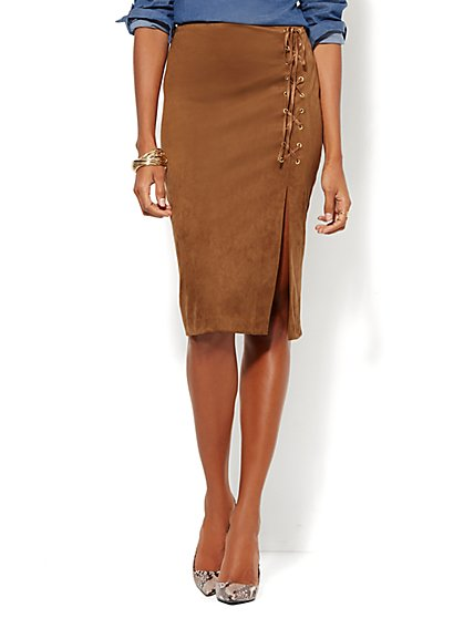 Ultra-Suede Slit Skirt  - New York & Company