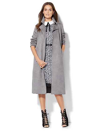 Ultra-Suede Trench Coat  - New York & Company