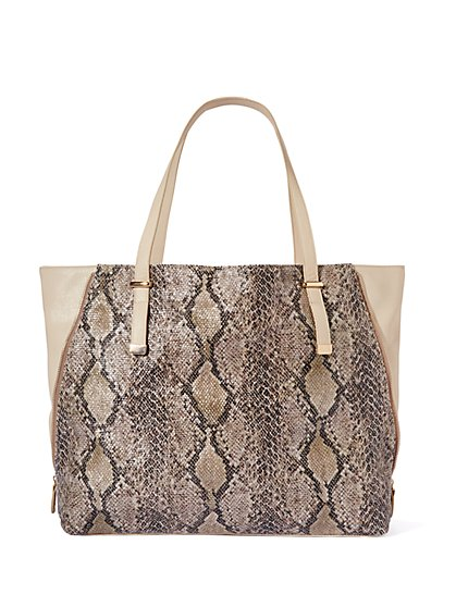 Union Square Faux-Snakeskin Tote