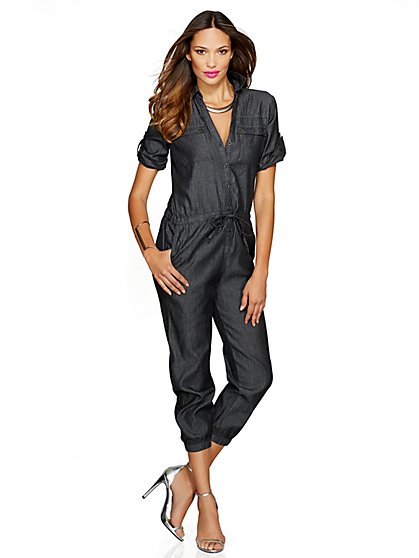Utility Chambray Jumpsuit - Black - New York & Company