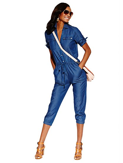 Utility Chambray Jumpsuit - New York & Company