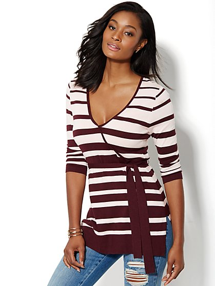 V-Neck Belted Tunic Sweater - Striped - New York & Company
