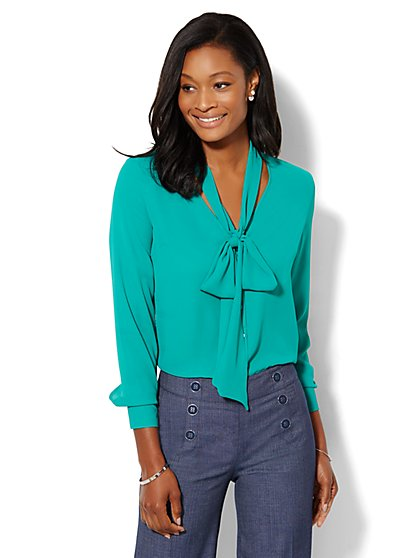 V-Neck Bow Blouse - Petite  - New York & Company