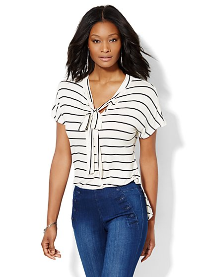 V-Neck Bow Top - Stripe  - New York & Company