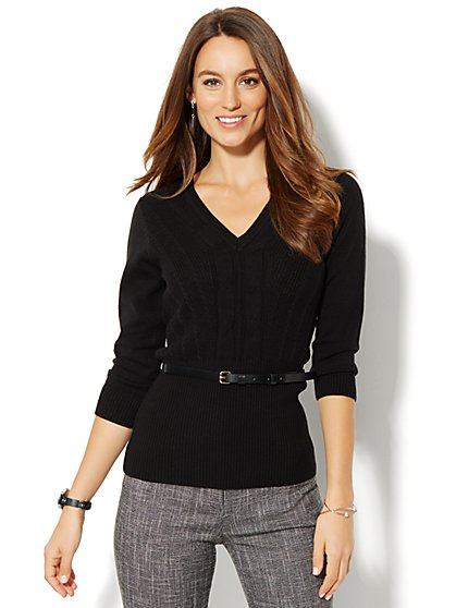 V-Neck Cable Sweater  - New York & Company