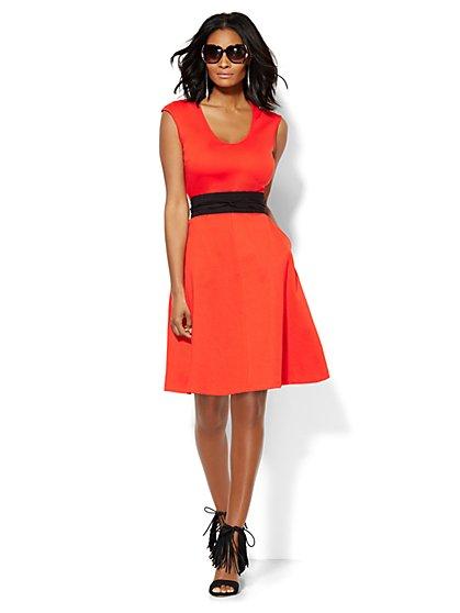 V-Neck Cotton Flare Dress - New York & Company