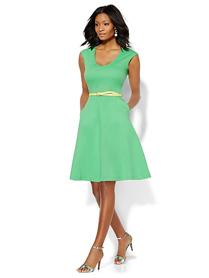V-Neck Cotton Flare Dress - New York & Company
