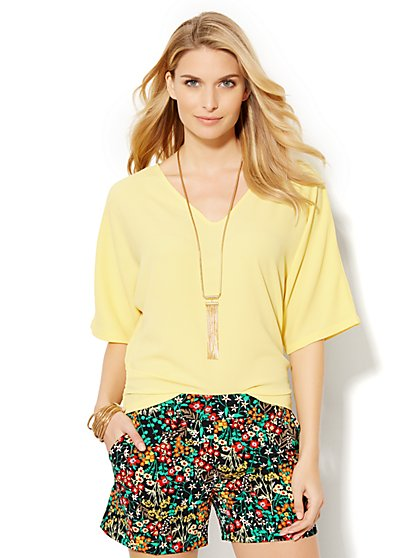 V-Neck Dolman Blouse - Solid  - New York & Company