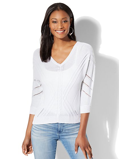V-Neck Dolman Sweater - White - New York & Company