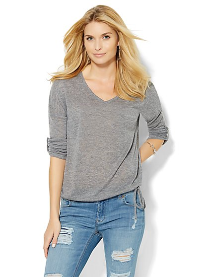 V-Neck Drop-Shoulder Pullover - Solid  - New York & Company