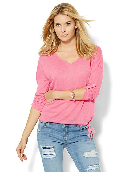 V-Neck Drop-Shoulder Pullover - Solid  - New York & Company