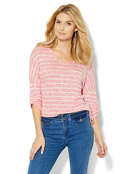 V-Neck Drop-Shoulder Pullover - Stripe  - New York & Company