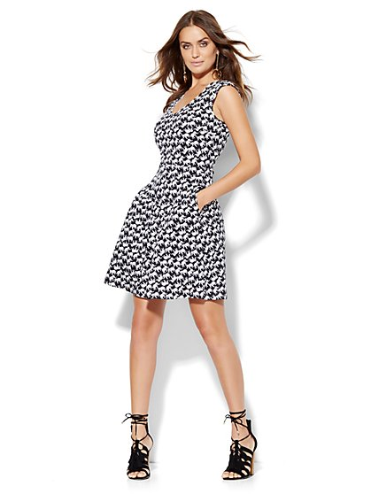 V-Neck Flare Dress - Elephant Print  - New York & Company