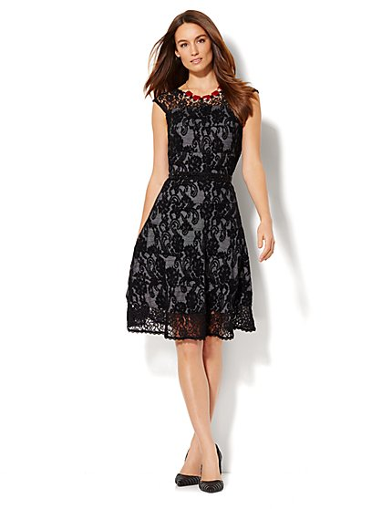 V-Neck Lace-Overlay Midi Dress - Petite  - New York & Company