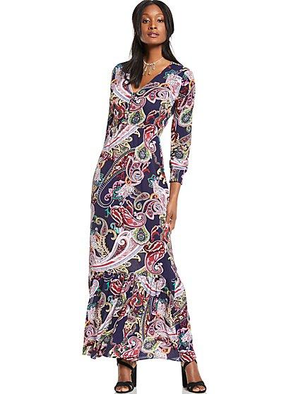 V-Neck Maxi Dress - Paisley - New York & Company