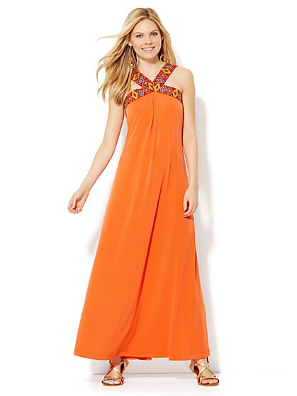 V-Neck Maxi Dress - Petite  - New York & Company