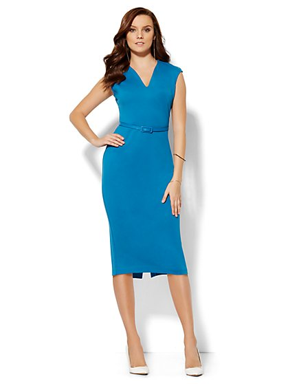 V-Neck Midi Dress - Petite  - New York & Company