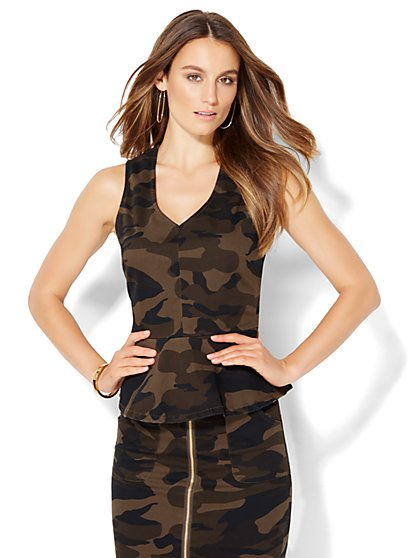 V-Neck Peplum Top - Camouflage Print  - New York & Company