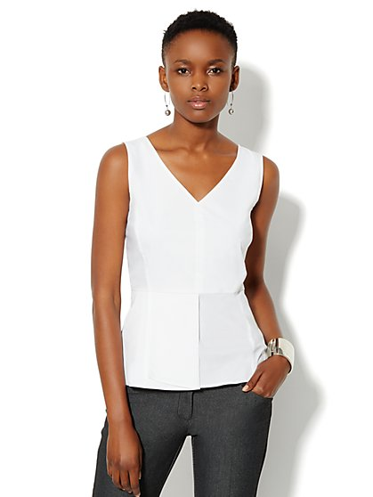 V-Neck Peplum Top - Optic White - New York & Company