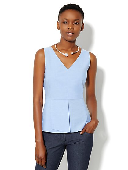 V-Neck Peplum Top  - New York & Company