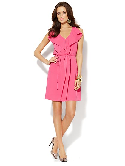 V-Neck Ruffle Dress  - New York & Company