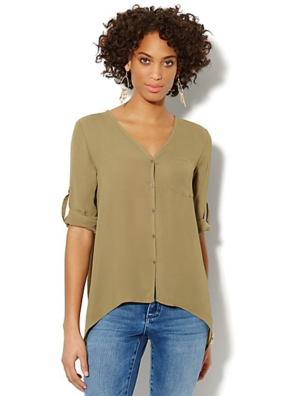 V-Neck Sharkbite Blouse  - New York & Company