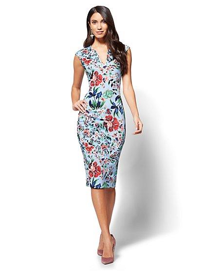 V-Neck Sheath Dress - Floral - New York & Company