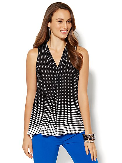 V-Neck Shell - Dot Print   - New York & Company