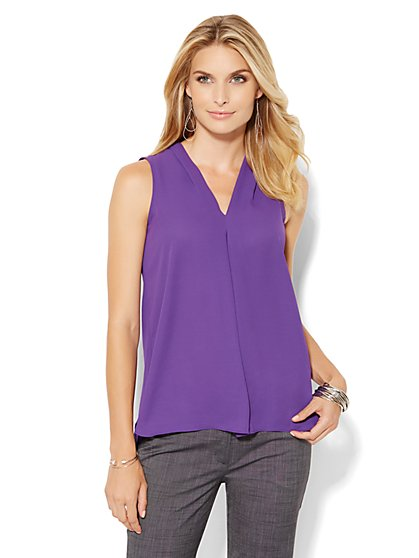 V-Neck Shell - Solid  - New York & Company