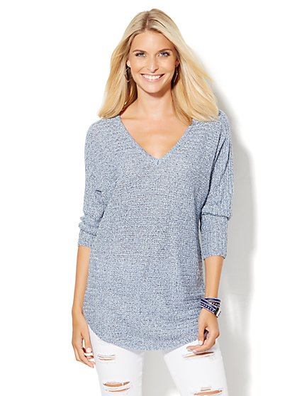 V-Neck Shirttail Dolman Sweater  - New York & Company