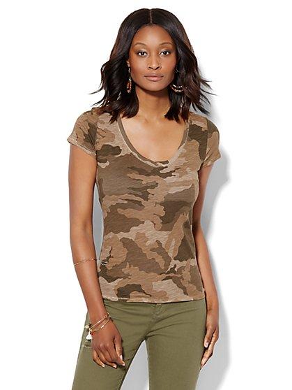 V-Neck Tee - Camouflage Print  - New York & Company
