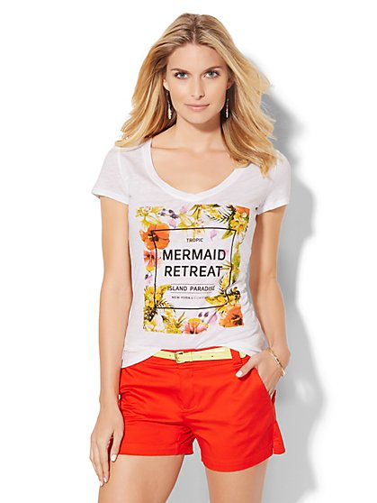 V-Neck Tee - Mermaid Retreat  - New York & Company