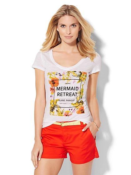 V-Neck Tee - Mermaid Retreat  - New York & Company